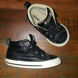 Black Leather No-lace High top Converse